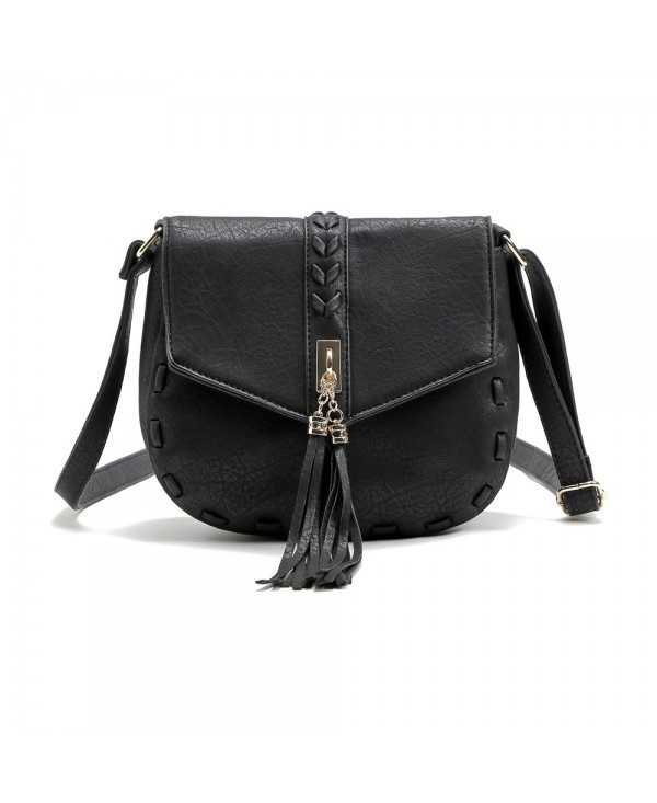 Solid Color Tassels Knitted Saddle Crossbody Bag