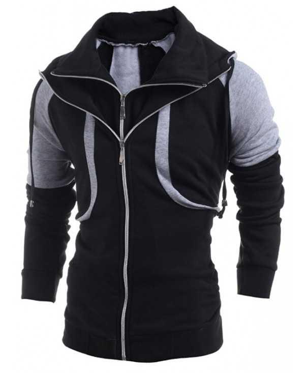 Double Zippers Color Block Casual Hoodie