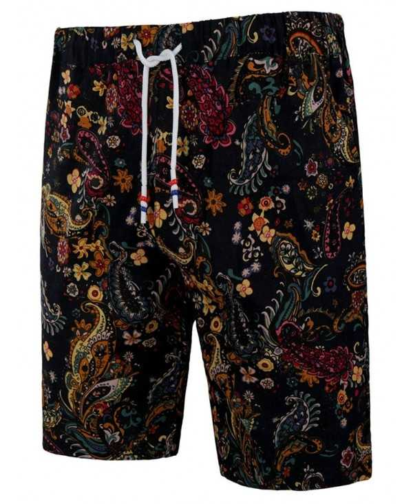All Over Floral Paisley Print Pockets Ethnic Bermuda Shorts