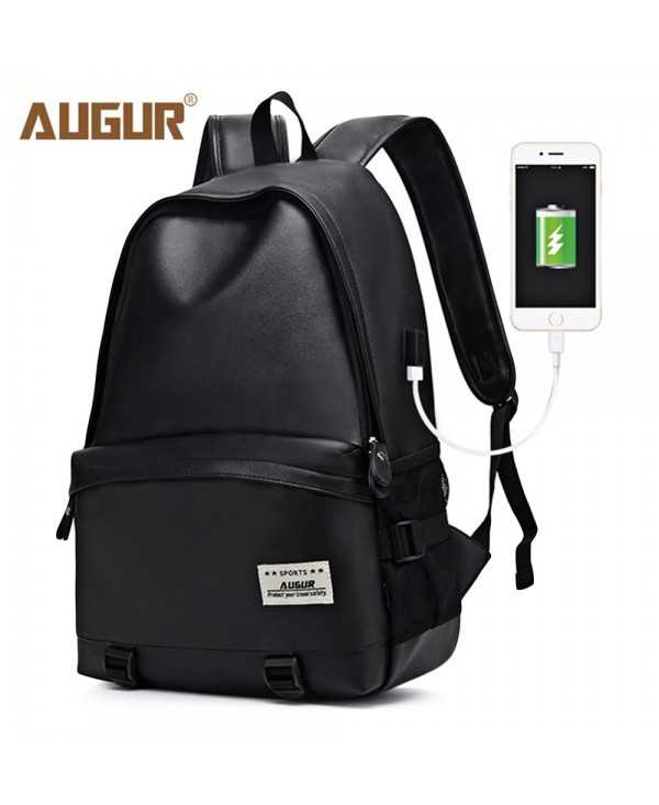 AUGUR PU Leather USB Charger Outdoor Travel Backpack Men Women Bag