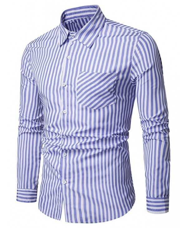 Classic Stripe Print Chest Pocket Long Sleeve Shirt