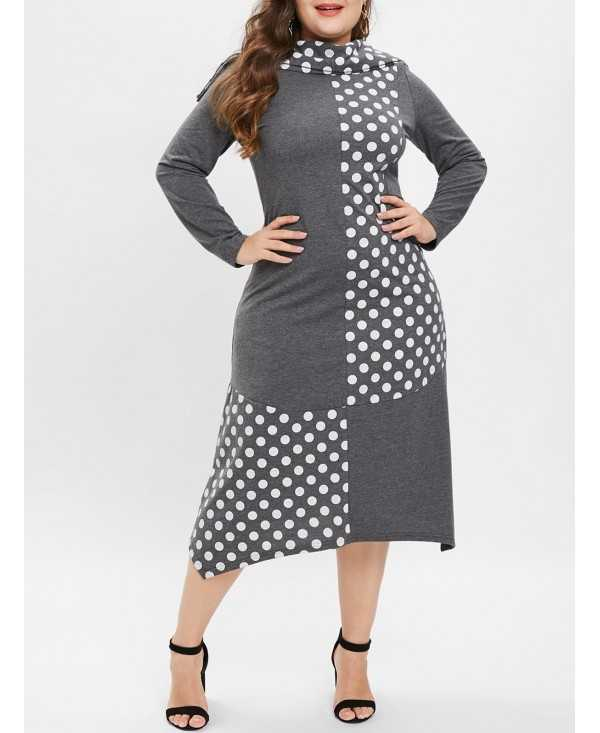 Long Sleeve Polka Dot Panel Plus Size Dress with Scarf