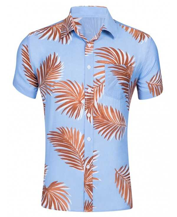 Two-double Leaves Printed Hawaiian Shirt