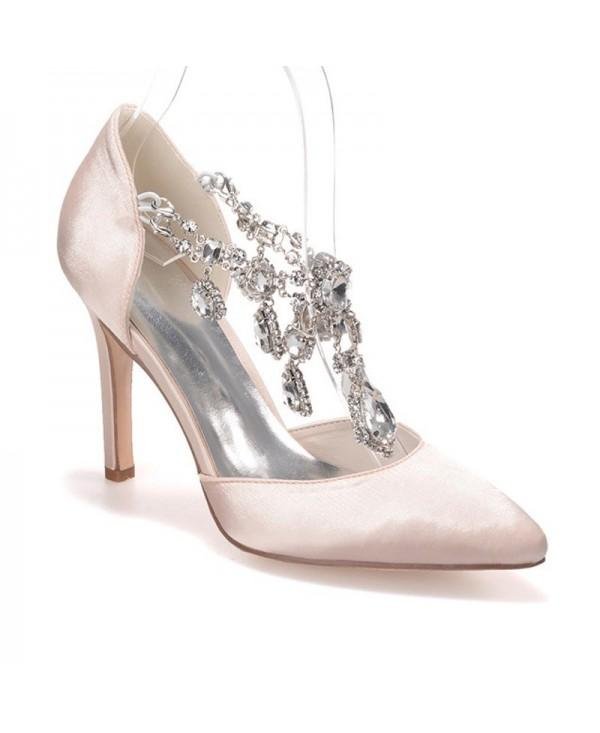 Slim Women's Shoes with Pointed Diamond Wedding Shoes