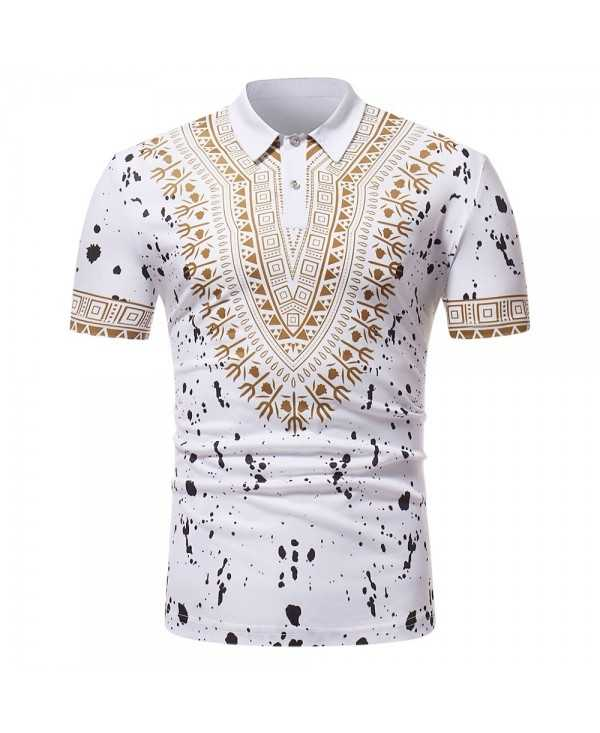 ZT - PL02 Men African Print Pullover Short Sleeve Shirt
