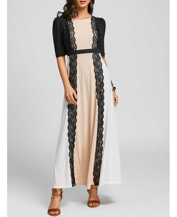 Lace Insert Color Block Party Maxi Dress