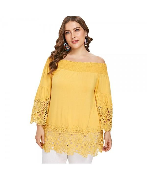 Plus Size Smocked Off The Shoulder Lace Trim Bell Sleeve Blouse