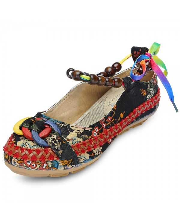 Round Toe Ankle Strap Floral Print Flat Heel Women Shoes