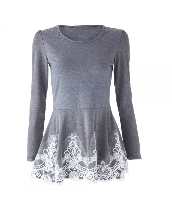 Stylish Jewel Neck Lacework Splicing Long Sleeve Women's T-Shirt