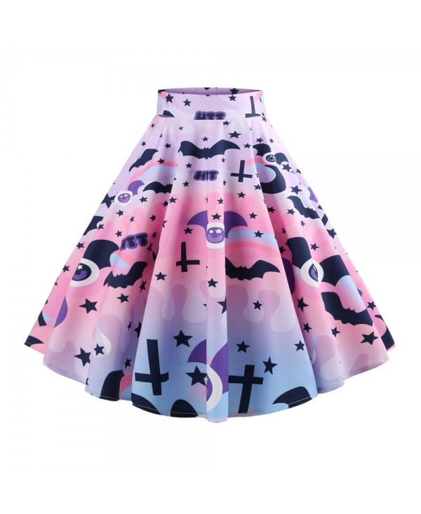 Hepburn Vintage Series Women Skirt Spring And Summer Halloween Ghost&Bat Printing Design Corset Retro Skirt