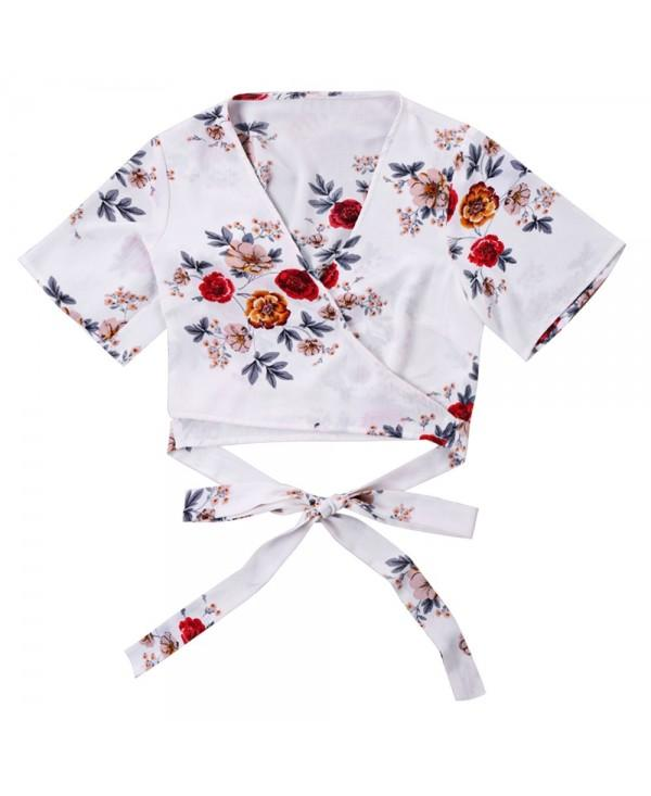 Floral Print Cropped Wrap Blouse