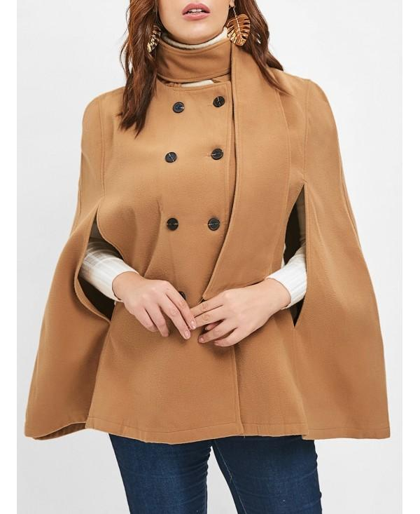 Plus Size Double Breasted Woolen Cape Coat