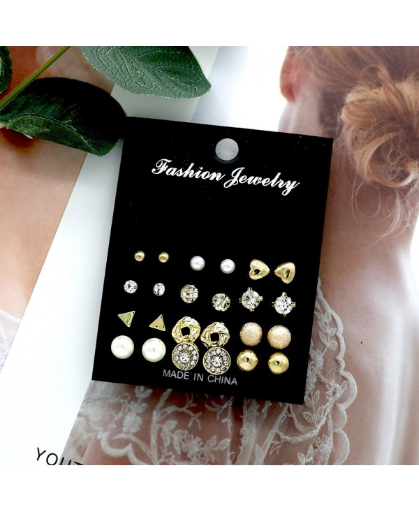 12-PIECE Set Stylish Women'S Studs Multi-Element Jewel Pearl Geometric Earrings