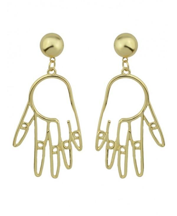 Funny Metal Hand Ball Earrings