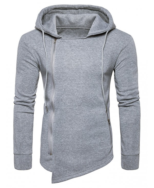 Hooded Drawstring Asymmetric Zip Up Hoodie