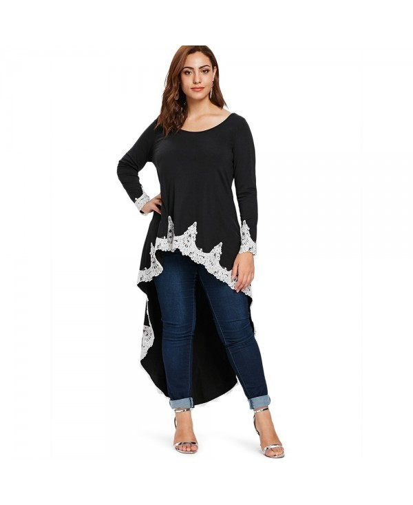 Lace Panel Plus Size High Low T-shirt