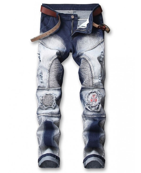 Opera Face Embroidery Patchwork Ripped Pleated Faded Biker Jeans