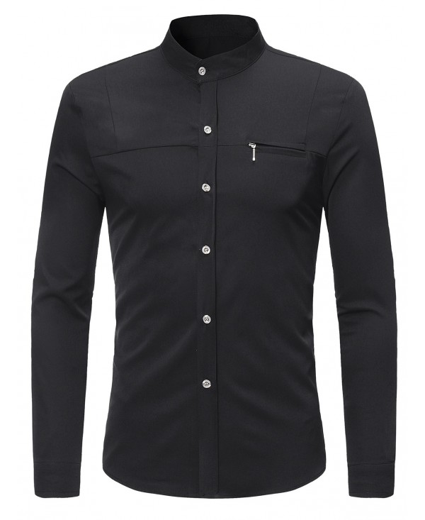 Mandarin Collar Faux Chest Pocket Shirt