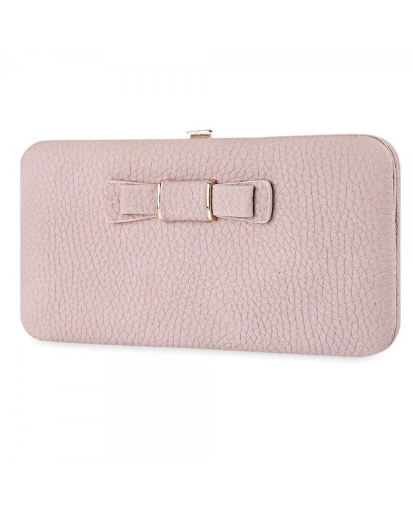Guapabien Sweet Bowknot Zip Around Purse for Women