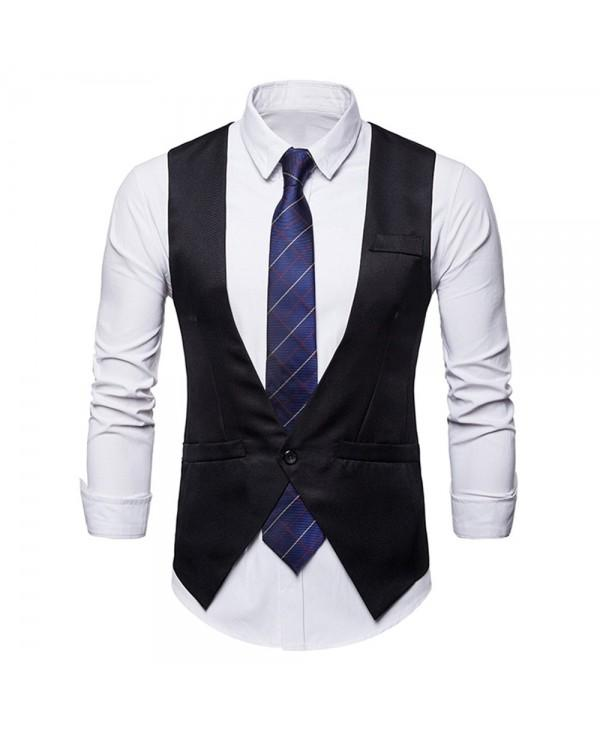 Slim Fit Single Button V Neck Vest