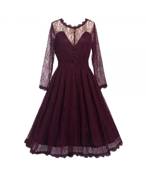 Women Long Sleeve Lace Dress