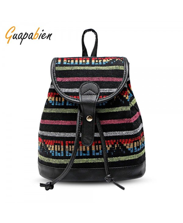 Guapabien Women Ethnic Style Printed Patchwork Backpack