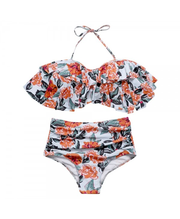 Halter Neck Backless Padded Flounce Floral Print High Waist Women Bikini Set