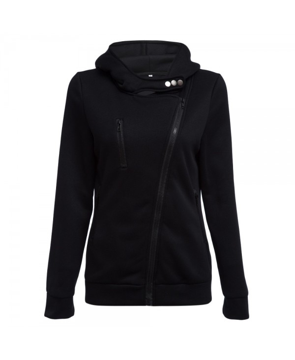 Casual Turn-down Collar Zipper Button Design Hoodie for Women