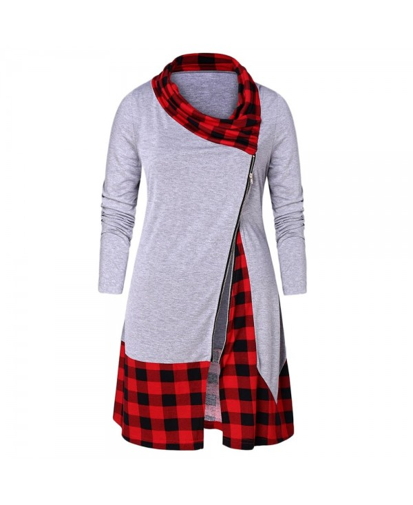 Plus Size Plaid Splicing Side Zip Fly T-shirt