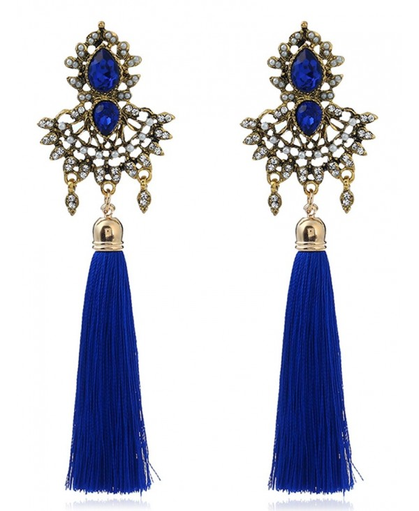 Faux Sapphire Rhinestone Tassel Earrings
