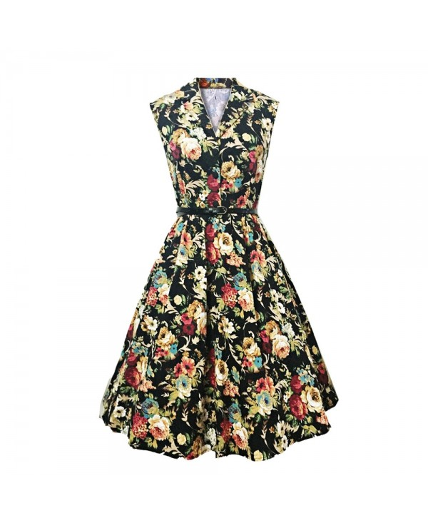 Vintage Lapel Floral Print Belt A-line Women Dress