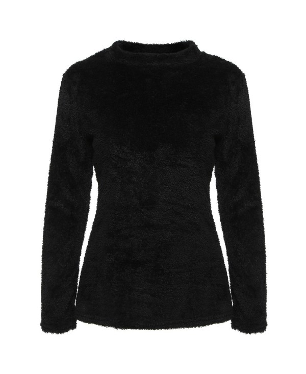 New Women Long Sleeve Fluffy Sweater Warm High Neck Jumper Pullover Crop Top
