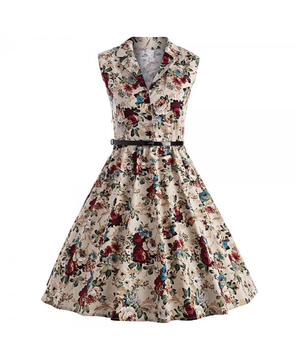 Vintage Floral Print Pin Up Swing Dress