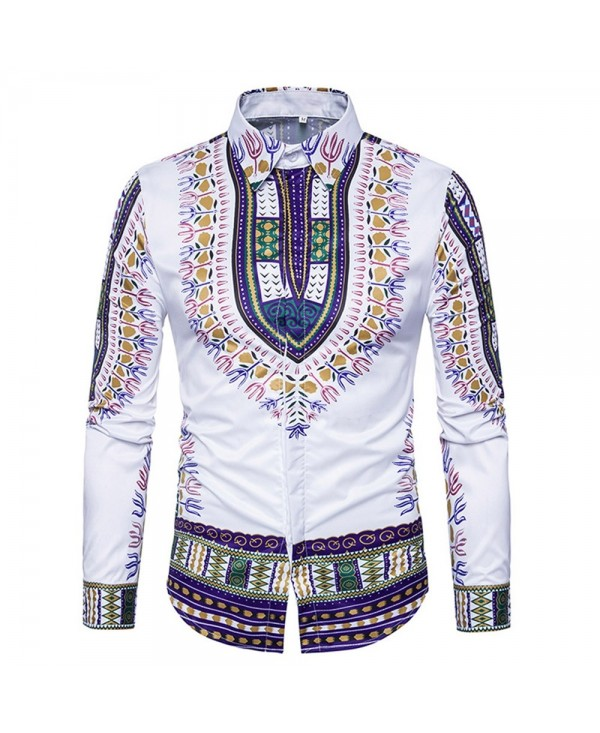 Ethnic Style Dashiki Print Long Sleeve Shirt