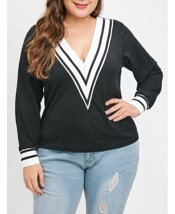 Plus Size Two Tone Long Sleeves Tee