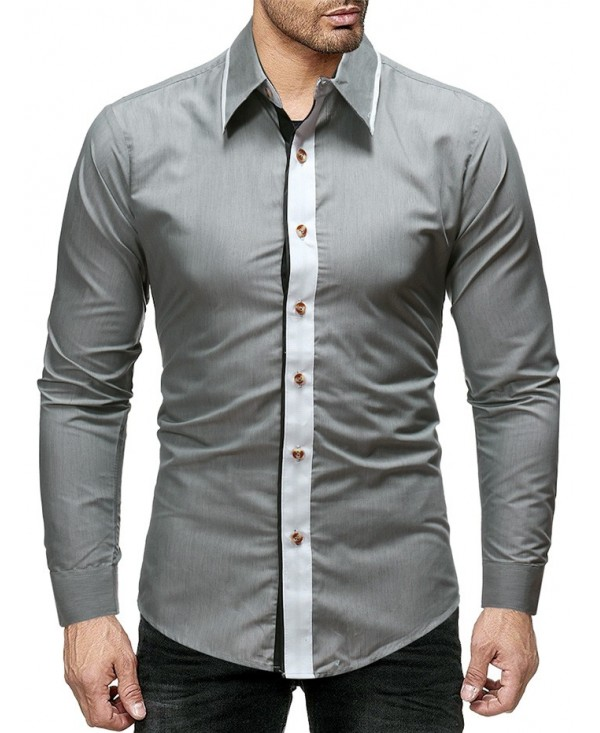 Contrast Color Long Sleeve Slim Fit Shirt