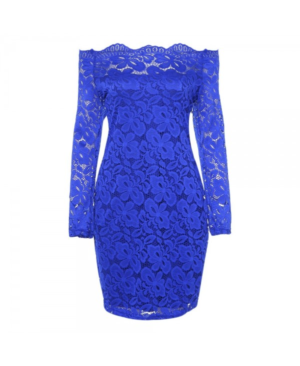 Off The Shoulder Long Sleeve Lace Women Bodycon Dress