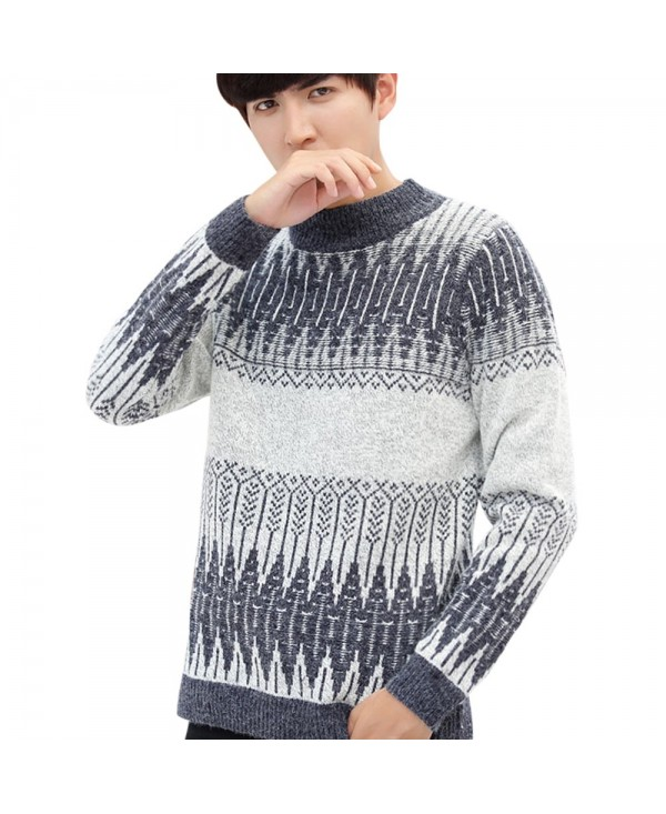 Geometric Pattern Soft Pullover Knit Sweater