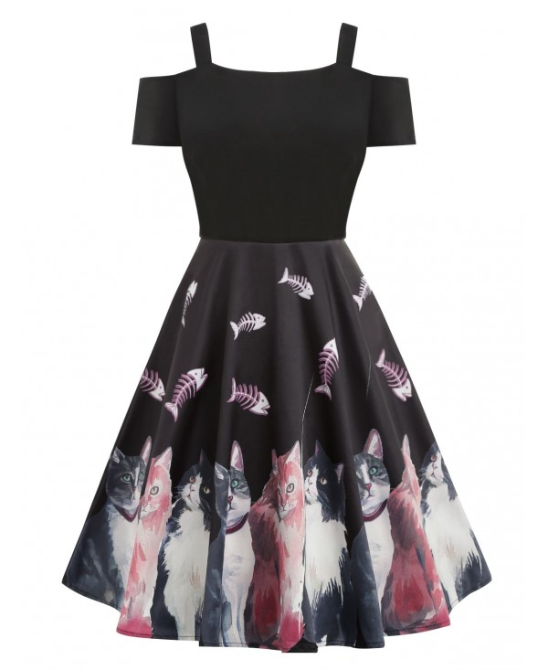 Cold Shoulder Cat Print High Waist Dress