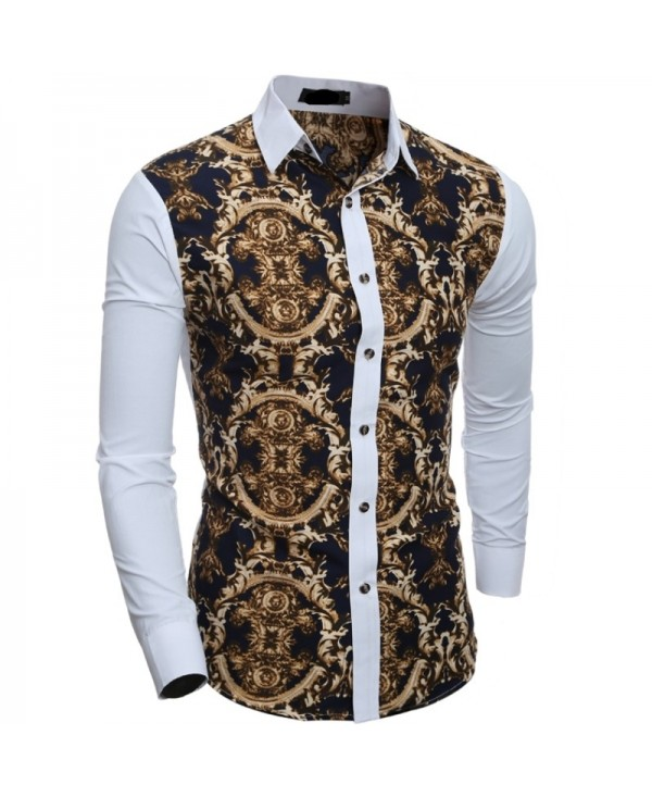 Men's Printing Shirt Casual Slim Long Sleeve Shirt