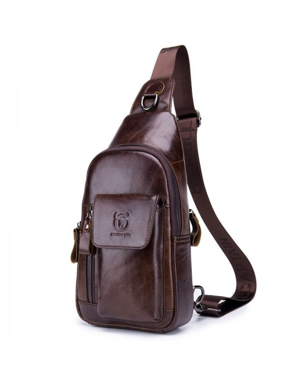 2018 New Men's First Layer Leather Shoulder Chest Bag