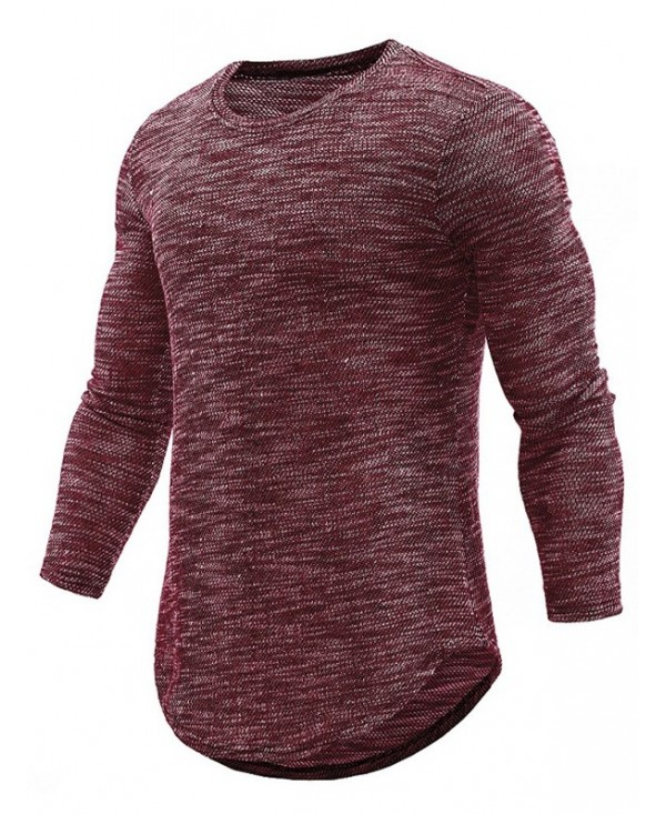 Textured Print Knit Crew Neck Long T-shirt