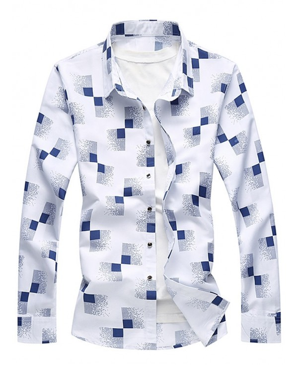 Casual Square Print Long Sleeve Shirt