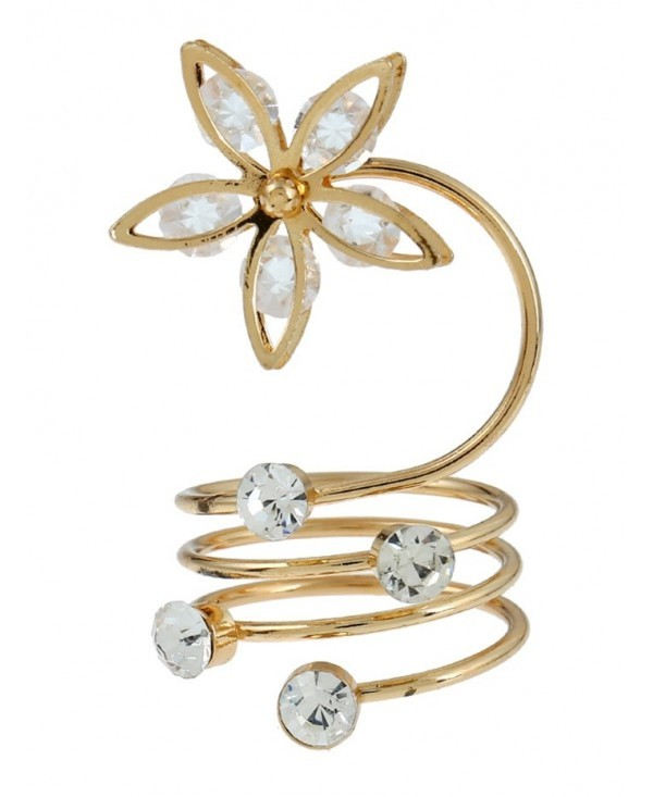 Rhinestone Flower Full Finger Ring