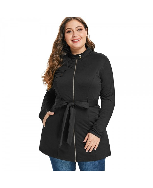 Plus Size Stand Collar Zip Fly Belted Tunic Coat