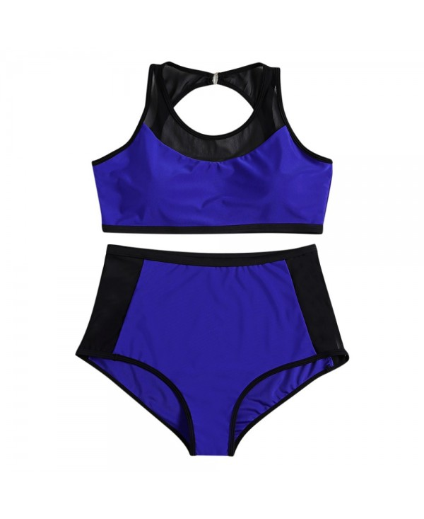 Round Collar Backless Spliced Mesh Padded Color Blocking High Waist Plus Size Women Bikini Set