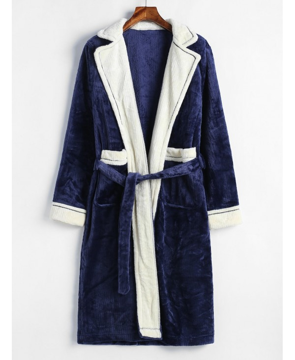 Colorblock Flannel Robe