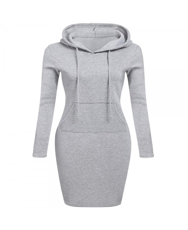 Autumn Winter Three Color Hooded Lace Pocket Sweater Dress Female
