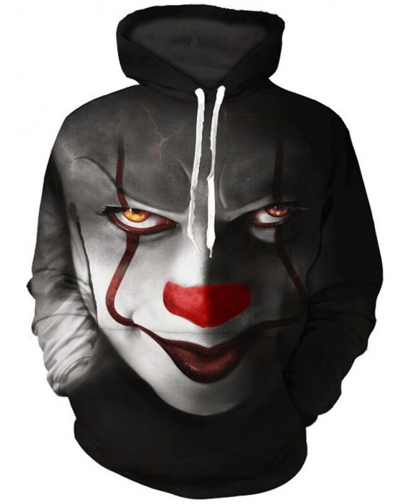 Men's Clown 3D Printed Loose Hooded Pullover Hoodie