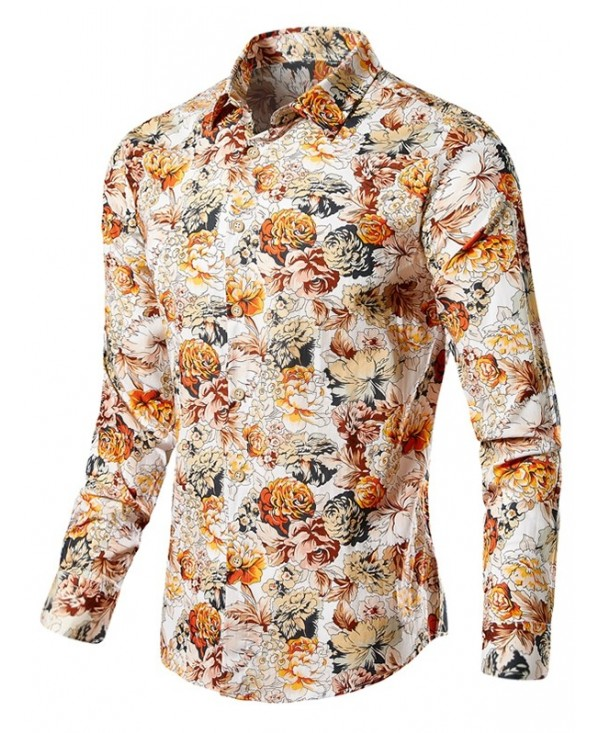 Vintage Blossoming Flowers Print Long Sleeve Shirt